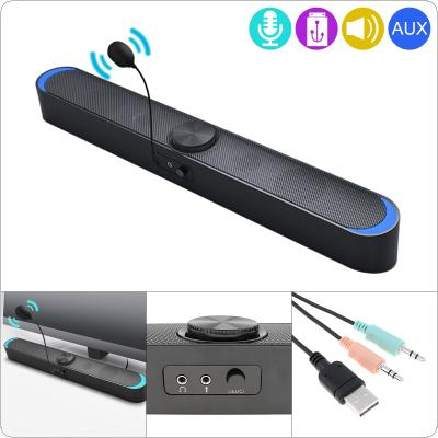 SADA V-198 Multi-media Soundbars Speaker Mobile Phone Computer Universal Mini Strip Speaker Stereo Surround Sound with Microphone