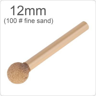 1 Piece 6 Handle Brazed Diamond Grinding Head 12mm 100# Fine Sand Stone Carving Ball-Shaped for Polishing Metal / Wood / Tool Rotary / Tools