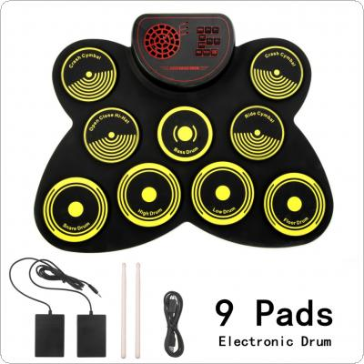 9 Pads Electronic Roll up Drum Thicken Silicone Built in Speakers Electric Drum Kit with Drumsticks and Sustain Pedal