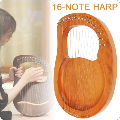 16 Strings Lyre Harp Solid Mahogany Wood with Pickup Tuning Hammer String Instrument