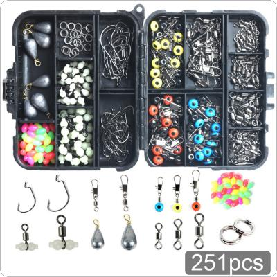 251pcs Fishing Accessories Kit Including Crank Hook Snaps Rolling Swivel Fishing Connector Luminous Fishing Beads Sinker Weights with Fishing Tackle Box
