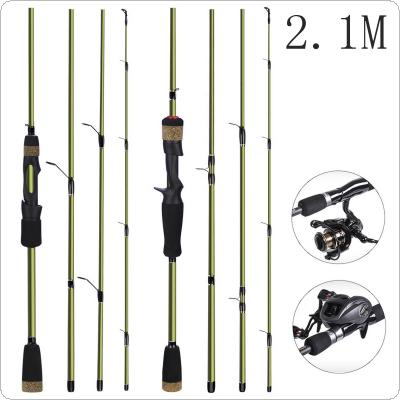 2.1m 4 Section Carbon Fiber Lure Fishing Rod M Power Portable Ultra Light Spinning / Casting Fishing Pole