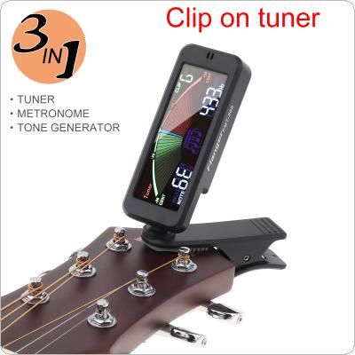 3 IN 1 Guitar Tuner Large LCD Screen Metronome Generator with Clip for Chromatic Guitar Bass Ukulele Violin