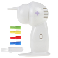 White Cordless Plastic Painless Electric Ear Cleaner with Silicone Nozzles & Brush