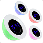 12 White + 15 RGB LEDs Touch Switch Color Changing Atmosphere Lamp Beauty Blue Light Time Display Alarm Clock