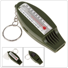 4-In-1 Outdoor Multifunctional Survival Whistle + Compass + Magnifying + Thermometer for Camping with Key Ring