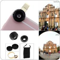 Fisheye Lens & Macro Lens Super Wide Angle Mobile Phone Camera Lens Kit Metal Clip-on  Any Kind of Mobile Phone
