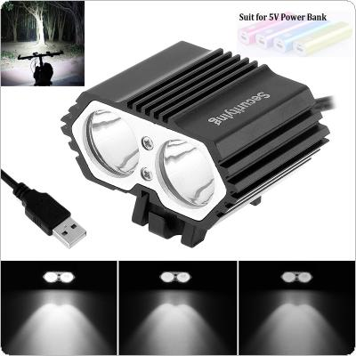 SecurityIng Outdoor 5V USB XM-L T6 X2 LED 4-Mode Bicycle Head Light Cycling Front Lamp