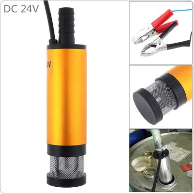 DC 24V 38MM Gold Portable Aluminum Alloy Car Electric Submersible Pump Fuel Water Oil Barrel Pump with 2 Alligator Clips