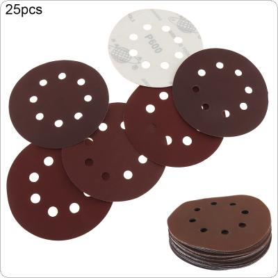 25pcs 125mm 600-2000 Round Sandpaper Eight Hole Disk Sand Sheets Grit Abrasive Paper Tool for Electric Grinder