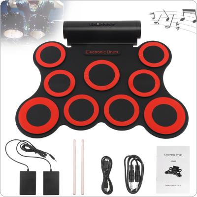 9 Pads Electronic Roll up Silicone MIDI Drum Double Speakers Stereo Electric Drum Kit with Drumsticks and Sustain Pedal
