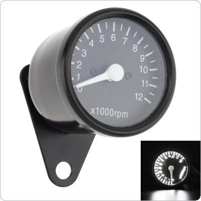 Motorcycle Tachometer 12V Black LED Back Light Metal Shell Speedometer for Motorcycle Universal