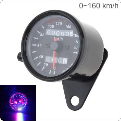 Motorcycle Speedometer 12V Metal Case with High Bright Two Color LED Night Light Double Counting Mileage Meter Speed Code Table for Motorcycle Universal