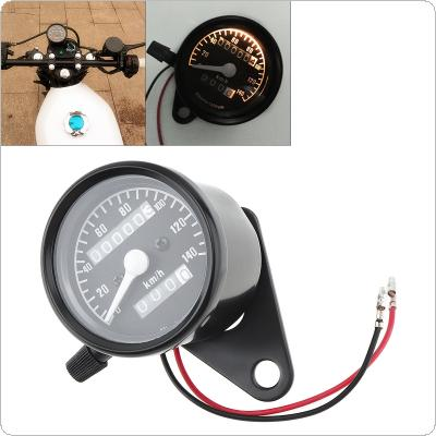 Motorcycle Odometer 12V Black Retro Yellow Light Double Mileage Kilometers Speedometer for Motorcycle Universal