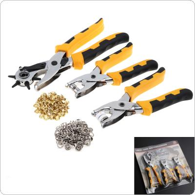 3 pcs / set 3 in1 Leather Punching Pliers Pressure Pliers Chrysanthemum Pliers Setter Tool Kit with Belt Buckle and Daisy Buckle for Repair