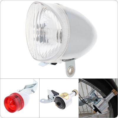 6V 3W Silver Bike Bicycle Dynamo Lights LED Self-powered Front Light Headlight and Rear Light LED Lamp Set Safety for Bicycle