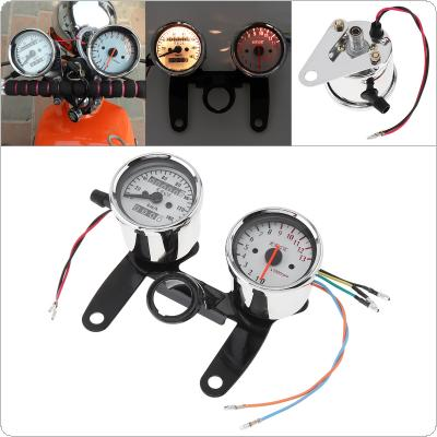 2 in 1 0-13000RPM 0-140km/h 12V Stainless Steel Retro Car Assembly Tachometer Odometer for Motorcycle / Off-road Vehicle