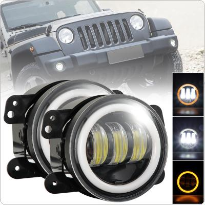 2pcs 4 Inch 30W 6000K Super Bright Round Led Driving Fog Lights with White + Amber Halo Ring Off Road for Jeep Dodge Chrysler
