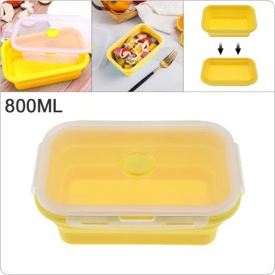 Yellow 800ML 7 Inch Portable Rectangle Silicone Scalable Folding Lunchbox Bento Box with Silicone Sealing Plug for - 40 ~ 230 Centigrade