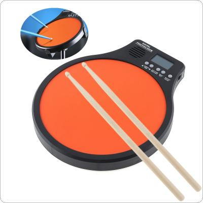 8 Inch Digital Electronic Dumb Drum Pad with Drumsticks Speed Detection Digital Metronome Practice Drum 3 IN 1 for Jazz Drums Exercise