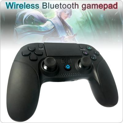 Wireless Bluetooth Pro Game Controller Handle with Touch Panel + Antiskid Marks + Built-in Color LED + Headphone Jacket Fit for PS4 / PS3 Console