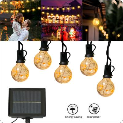 7.5M 25 Light Blub Solar G40 Waterproof Warm Light Bulb String with 3 Modes for Patio / Garden / Porch / Backyard / Party / Holiday Decoration