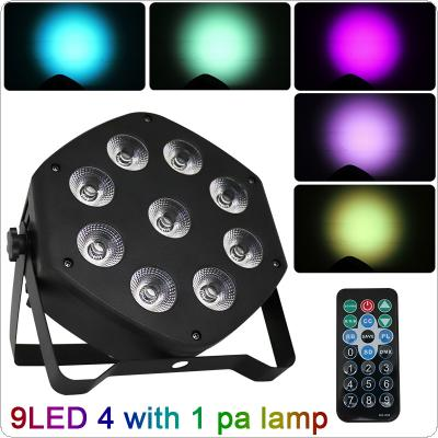 30W 9 LED 4-in-1 Pattern Dyeing Par Light with Voice Control / Self-propelled / DMX / Master-slave / Wireless RF Remote Control for Small Party / KTV / Wedding
