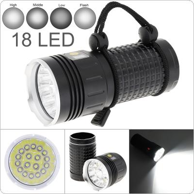 Power Display 18 x T6 LED 8000 Lumens Waterproof IP65 Aluminium Alloy Flashlight with 4 Modes Light and DC USB Cable
