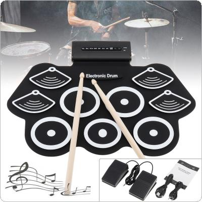 9 Pads Electronic Roll up Thicken Silicone Drum Electric Drum Kit with Drumsticks and Sustain Pedal