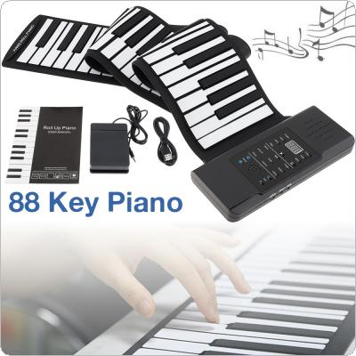 88 Keys MIDI Roll Up Electronic Piano Rechargeable Portable Silicone Flexible Keyboard Organ Built-in Speaker