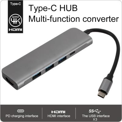 TypeC to USB 3.0 x 3 Adapter + HDMI 4K + PD  5 in 1 HD Power Supply Fit for Macbook