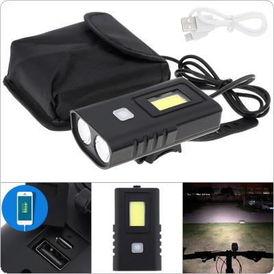 XM2 800 Lumens Black Plastic Waterproof 5 Gears Light Bicycle Lamp 2T6 LED + COB Light with 4pcs 3200mAh 18650 Battery Pack and USB Charging for Bicycle