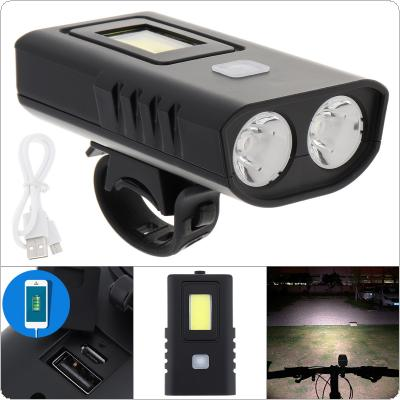 XM2 Built in Battery 800 Lumens Black Plastic Waterproof Bicycle Lamp 2T6 LED + COB Light with 5 Gears Light and USB Charging for Bicycle Lighting