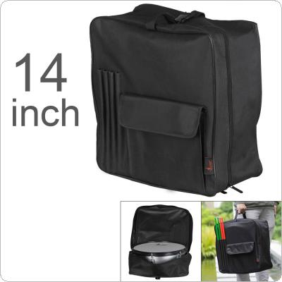 14 Inch 600D Oxford Cloth Portable Snare Drum Backpack with Drumsticks Pocket Instrument Bag Waterproof Black