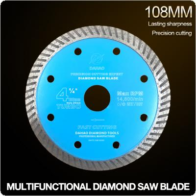 108mm Turbo Shape Diamond Saw Blade Volcanic Rock Cutting Blade Support Wet and Dry Cutting for Ceramic / Stone / Masonry / Brick