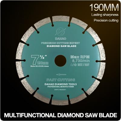 190mm Split Tooth Segmented Shape Diamond Saw Blade Volcanic Rock Cutting Blade Support Wet and Dry Cutting for Concrete / Stone / Masonry / Brick