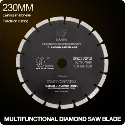 230mm Split Tooth Segmented Shape Diamond Saw Blade Volcanic Rock Cutting Blade Support Wet and Dry Cutting for Concrete / Stone / Masonry / Brick