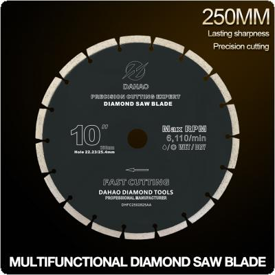 250mm Split Tooth Segmented Shape Diamond Saw Blade Volcanic Rock Cutting Blade Support Wet and Dry Cutting for Concrete / Stone / Masonry / Brick