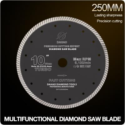 250mm Turbo Shape Diamond Saw Blade Volcanic Rock Cutting Blade Support Wet and Dry Cutting for Ceramic / Stone / Masonry / Brick