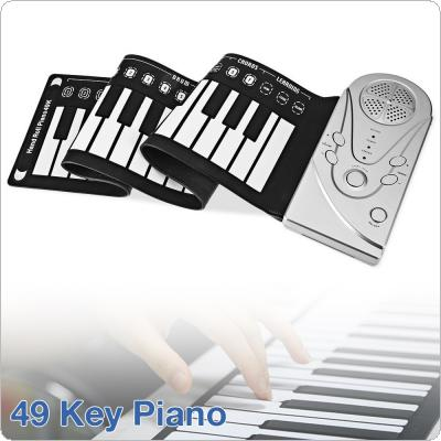 49 Keys Electronic Portable Silicone Flexible Hand Roll Up Piano Built-in Speaker Children Toys Keyboard Organ