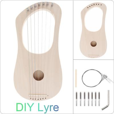 7 Strings Lyre Harp DIY Kit Solid Basswood String Instrument Handwork Painting Assembly for Amateur Beginner Kid Children Fun Toy Art