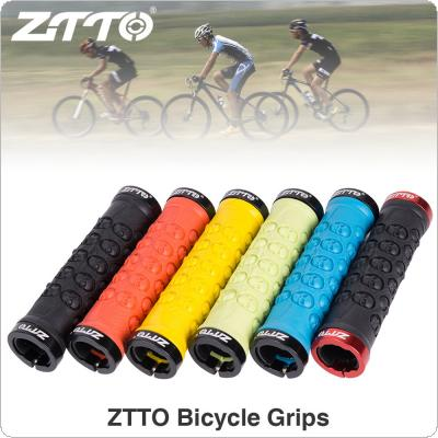 1 Pair Aluminum Alloy Rubber Handlebar Grips Cycling with Lockable Anti-skid for MTB Road Bike